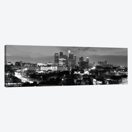 Los Angeles Panoramic Skyline Cityscape (Black & White - Night) Canvas Print #6229} by Unknown Artist Art Print