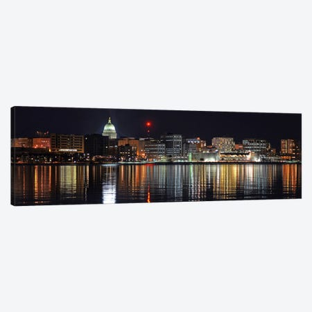 Madison Panoramic Skyline Cityscape (Night) Canvas Print #6230} by Unknown Artist Canvas Artwork