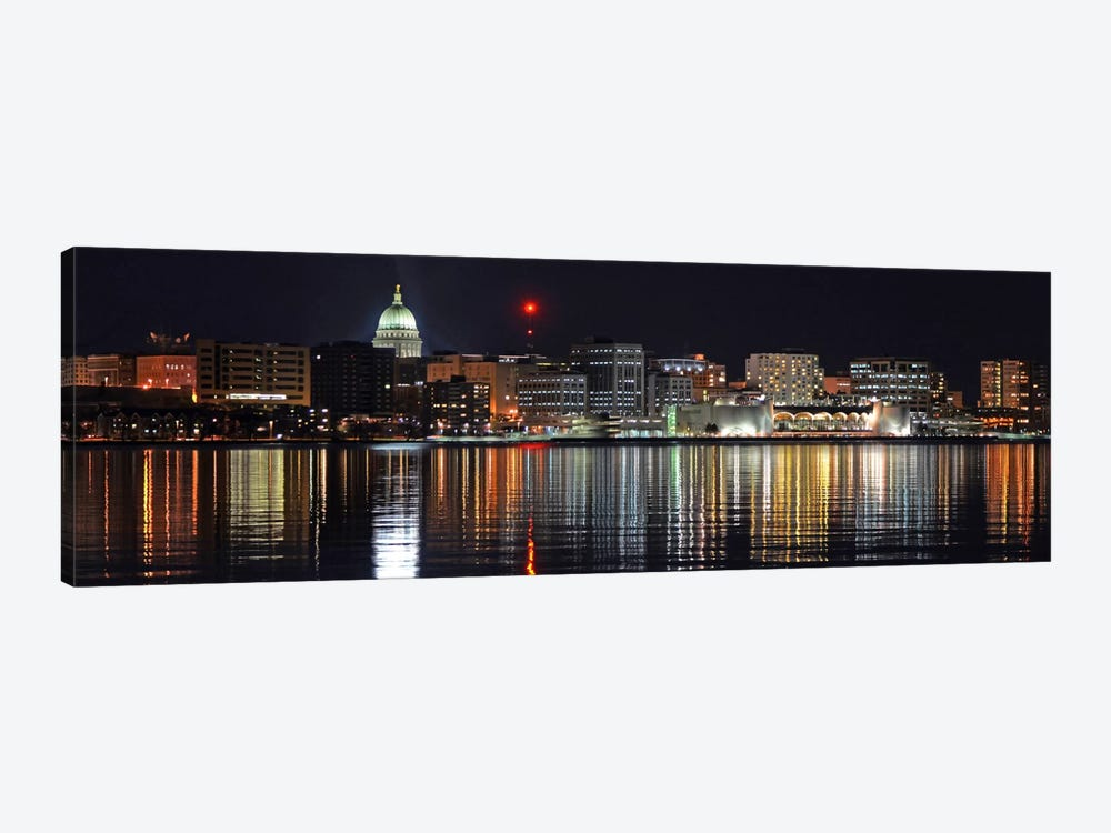 Madison Panoramic Skyline Cityscape (Night) by Unknown Artist 1-piece Canvas Wall Art