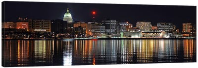 Madison Panoramic Skyline Cityscape (Night) Canvas Art Print