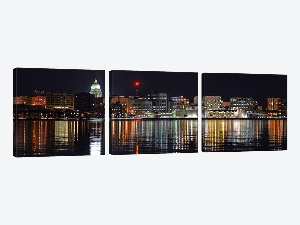 Madison Panoramic Skyline Cityscape (Night) by Unknown Artist 3-piece Canvas Wall Art