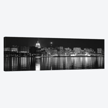 Madison Panoramic Skyline Cityscape (Black & White - Night) Canvas Print #6231} Canvas Wall Art
