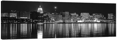 Madison Panoramic Skyline Cityscape (Black & White - Night) Canvas Art Print