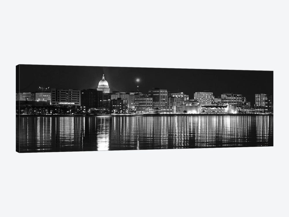 Madison Panoramic Skyline Cityscape (Black & White - Night) 1-piece Canvas Print