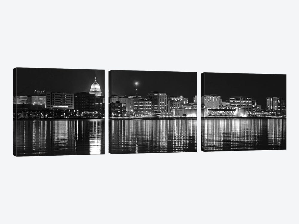 Madison Panoramic Skyline Cityscape (Black & White - Night) 3-piece Canvas Art Print
