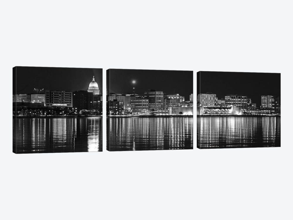 Madison Panoramic Skyline Cityscape (Black & White - Night) by Unknown Artist 3-piece Canvas Art Print