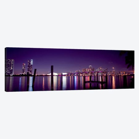 Miami Panoramic Skyline Cityscape (Night) Canvas Print #6232} Canvas Wall Art