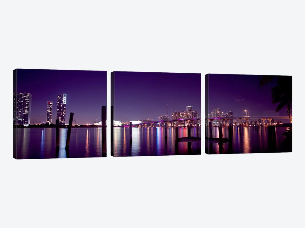 Miami Panoramic Skyline Cityscape (Night) by Unknown Artist 3-piece Canvas Artwork