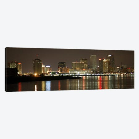 Nola Panoramic Skyline Cityscape (Night) Canvas Print #6233} Canvas Art