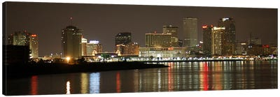Nola Panoramic Skyline Cityscape (Night) Canvas Print #6233