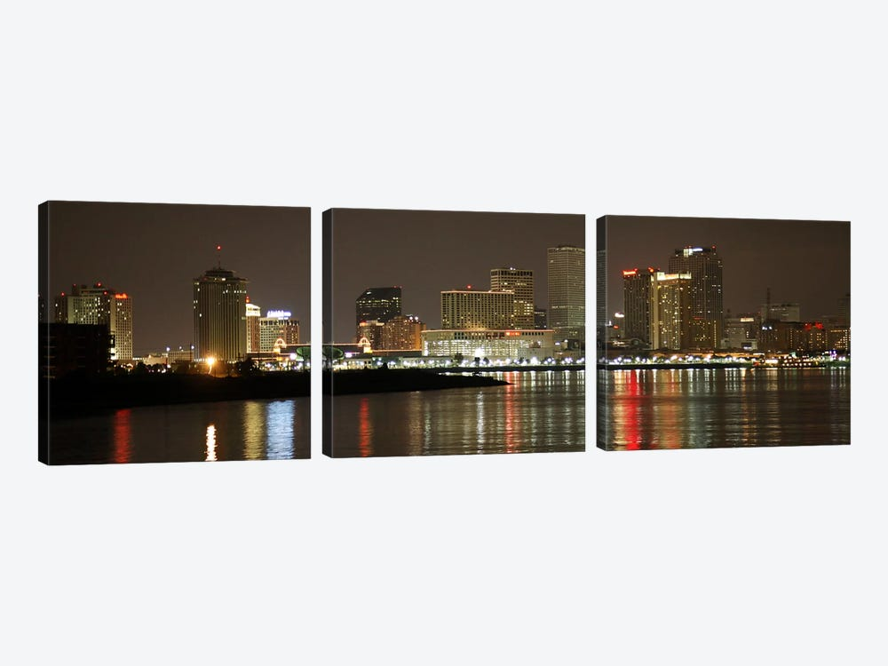 Nola Panoramic Skyline Cityscape (Night) by Unknown Artist 3-piece Art Print