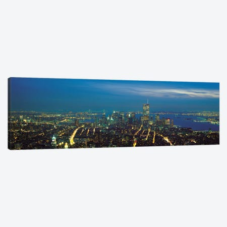 New York Panoramic Skyline Cityscape (Night) Canvas Print #6235} by Unknown Artist Canvas Art Print