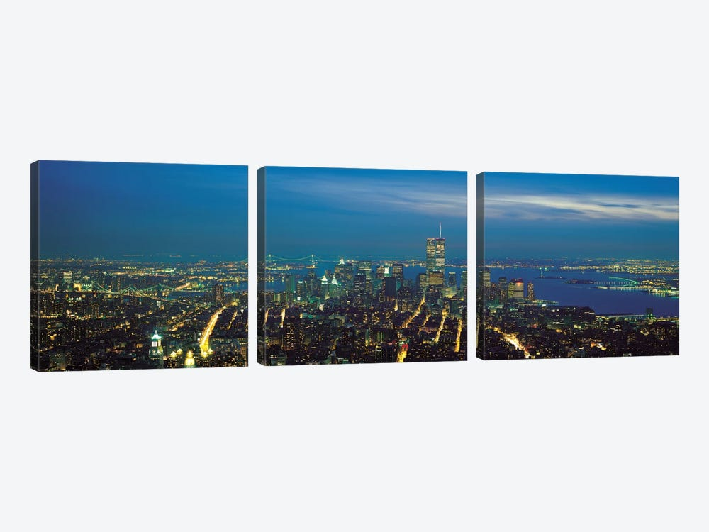 New York Panoramic Skyline Cityscape (Night) 3-piece Art Print