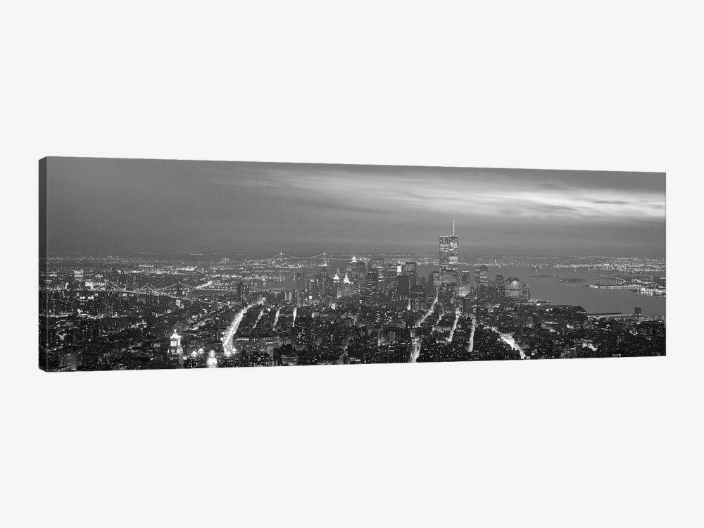 New York Panoramic Skyline Cityscape (Black & White - Night) 1-piece Canvas Artwork