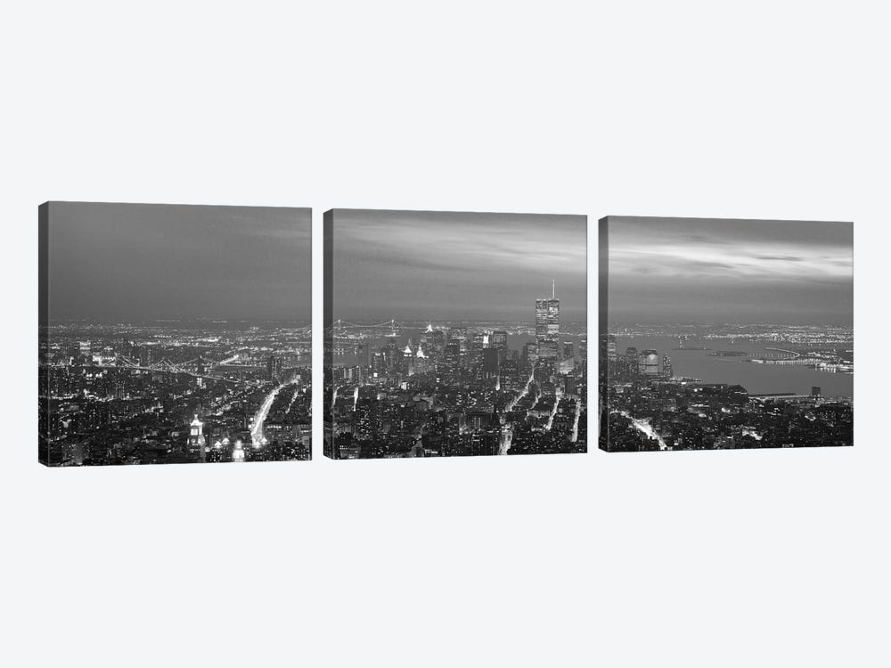 New York Panoramic Skyline Cityscape (Black & White - Night) 3-piece Canvas Wall Art