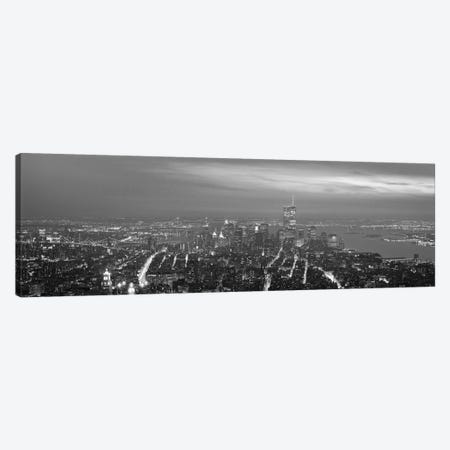 New York Panoramic Skyline Cityscape (Black & White - Night) Canvas Print #6236} by Unknown Artist Art Print