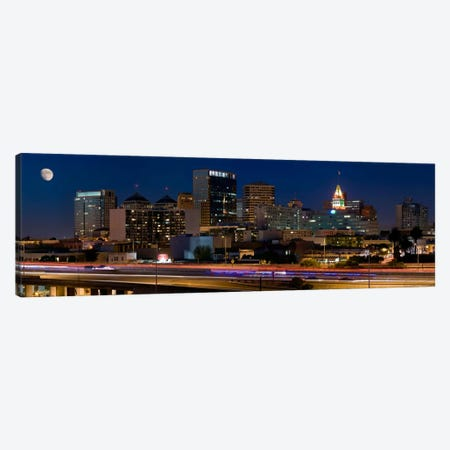Oakland Panoramic Skyline Cityscape (Night) Canvas Print #6237} Art Print