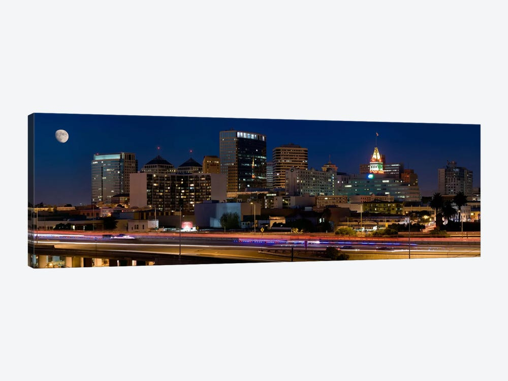 Oakland Panoramic Skyline Cityscape (Night) by Unknown Artist 1-piece Canvas Print