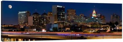 Oakland Panoramic Skyline Cityscape (Night) Canvas Art Print
