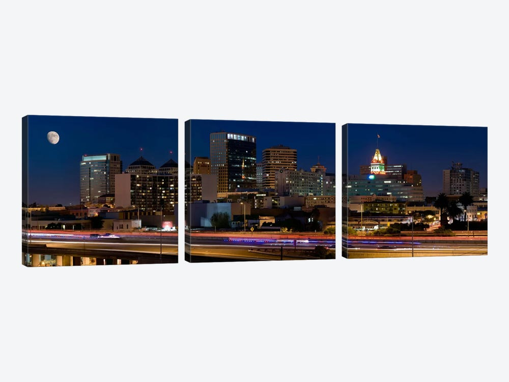 Oakland Panoramic Skyline Cityscape (Night) by Unknown Artist 3-piece Canvas Art Print
