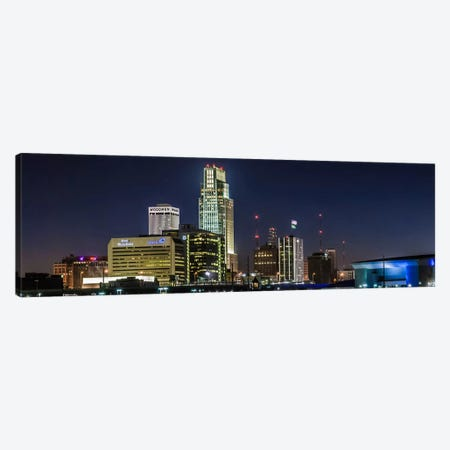 Omaha Panoramic Skyline Cityscape (Night) Canvas Print #6240} Art Print