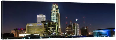 Omaha Panoramic Skyline Cityscape (Night) Canvas Art Print