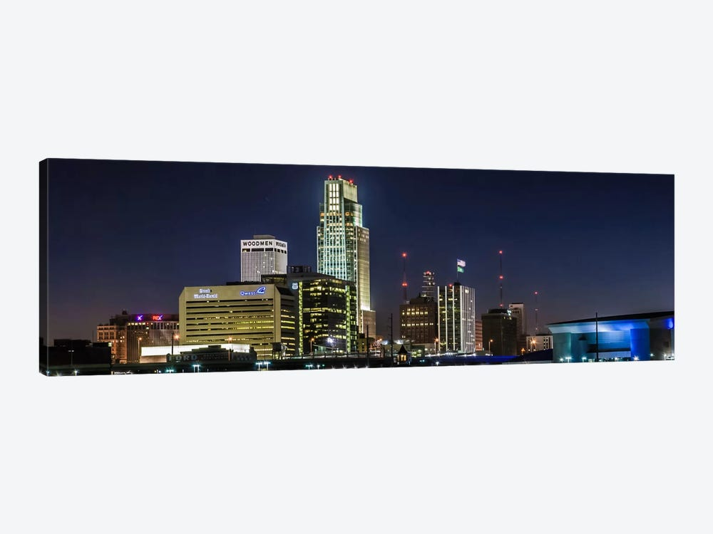 Omaha Panoramic Skyline Cityscape (Night) 1-piece Canvas Art Print