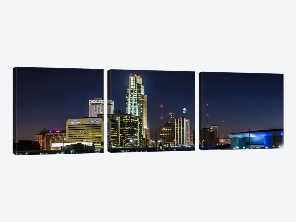 Omaha Panoramic Skyline Cityscape (Night) by Unknown Artist 3-piece Art Print