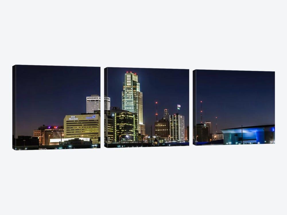 Omaha Panoramic Skyline Cityscape (Night) by Unknown Artist 3-piece Art Print