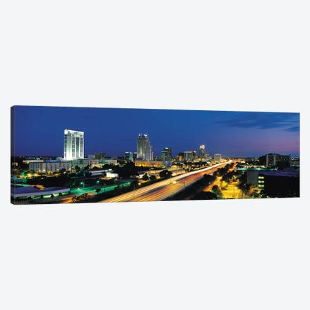 Orlando Panoramic Skyline Cityscape (Night) Canvas Print #6241} by Unknown Artist Canvas Art Print