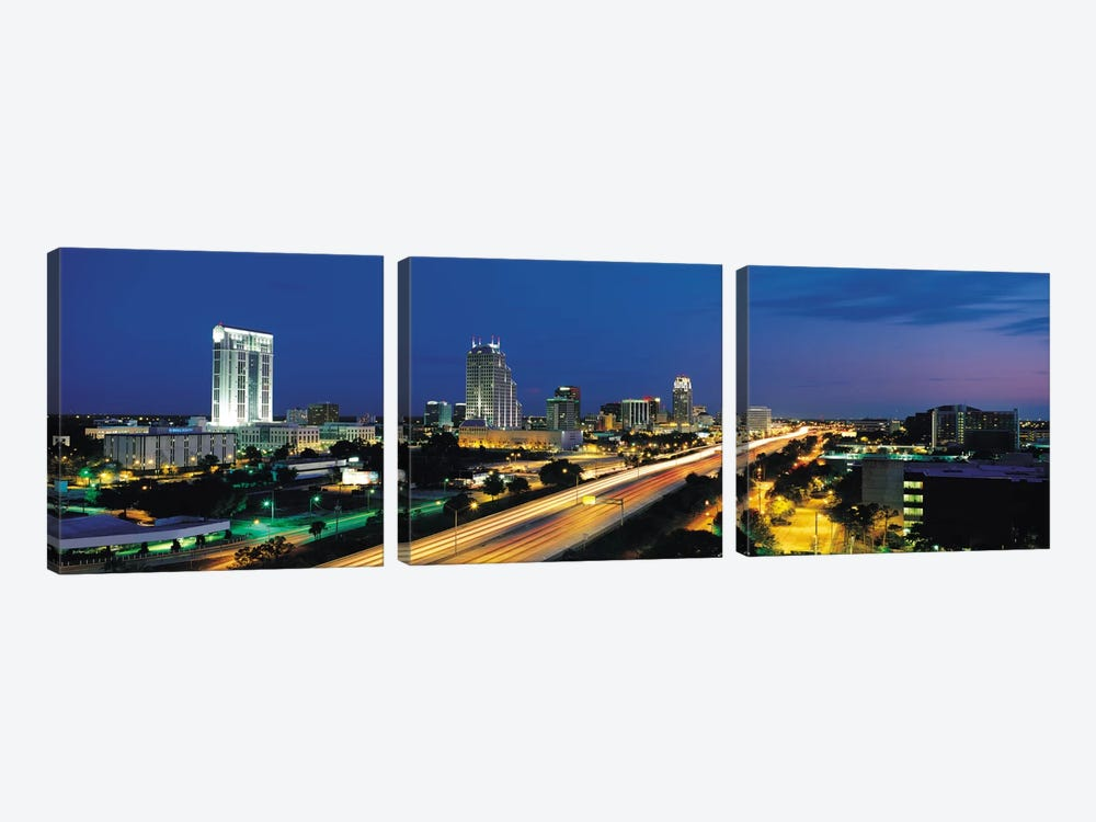 Orlando Panoramic Skyline Cityscape (Night) 3-piece Canvas Artwork