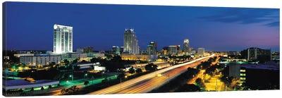 Orlando Panoramic Skyline Cityscape (Night) Canvas Art Print