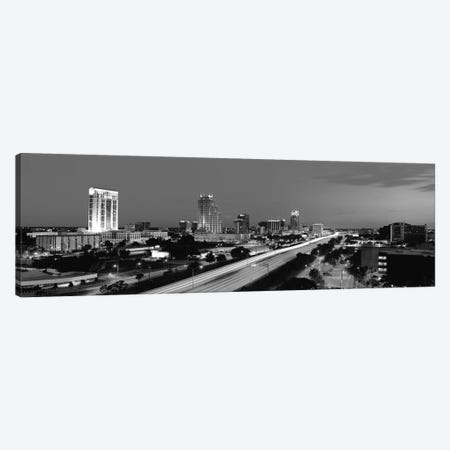 Orlando Panoramic Skyline Cityscape (Black & White - Night) Canvas Print #6242} Art Print