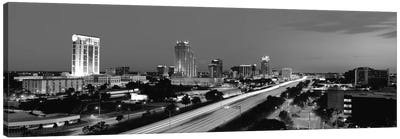 Orlando Panoramic Skyline Cityscape (Black & White - Night) Canvas Art Print