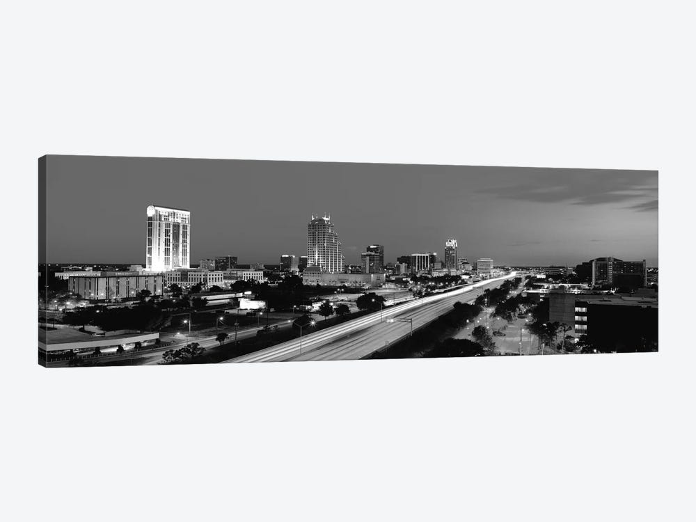 Orlando Panoramic Skyline Cityscape (Black & White - Night) 1-piece Canvas Print