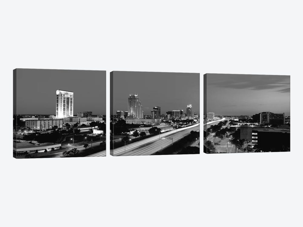 Orlando Panoramic Skyline Cityscape (Black & White - Night) 3-piece Art Print