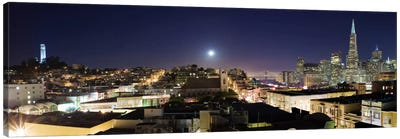 San Francisco Panoramic Skyline Cityscape (Night) Canvas Print #6249