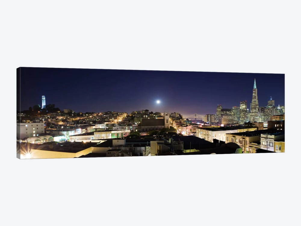 San Francisco Panoramic Skyline Cityscape (Night) by Unknown Artist 1-piece Canvas Art