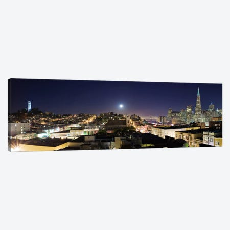 San Francisco Panoramic Skyline Cityscape (Night) 3-Piece Canvas #6249} by Unknown Artist Art Print