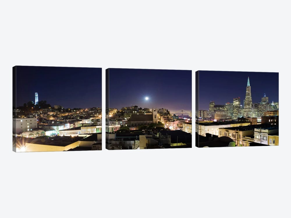 San Francisco Panoramic Skyline Cityscape (Night) by Unknown Artist 3-piece Canvas Artwork