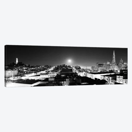 San Francisco Panoramic Skyline Cityscape (Black & White - Night) Canvas Print #6250} Canvas Art