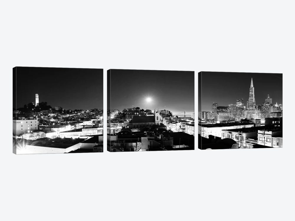 San Francisco Panoramic Skyline Cityscape (Black & White - Night) 3-piece Canvas Wall Art
