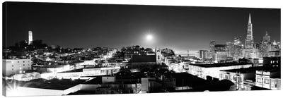 San Francisco Panoramic Skyline Cityscape (Black & White - Night) Canvas Art Print