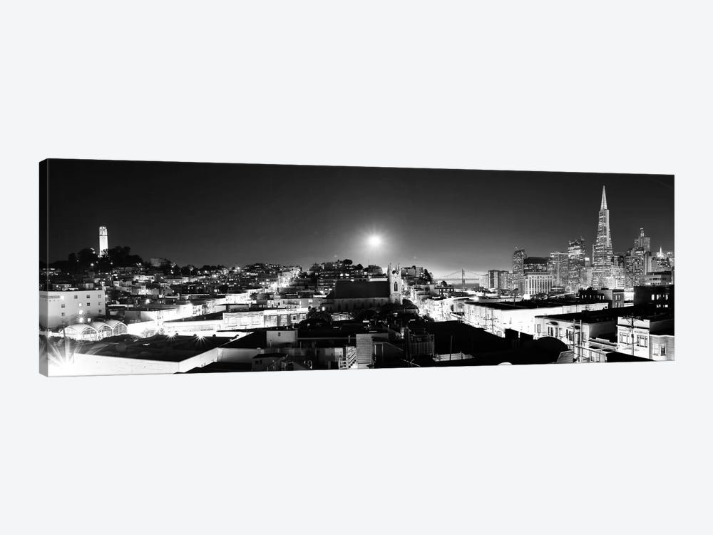 San Francisco Panoramic Skyline Cityscape (Black & White - Night) by Unknown Artist 1-piece Canvas Art