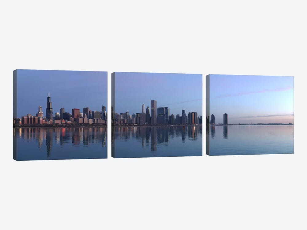 Chicago Panoramic Skyline Cityscape (Sunrise) by Unknown Artist 3-piece Art Print