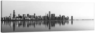 Chicago Panoramic Skyline Cityscape (Black & White - Sunrise) Canvas Print #6254
