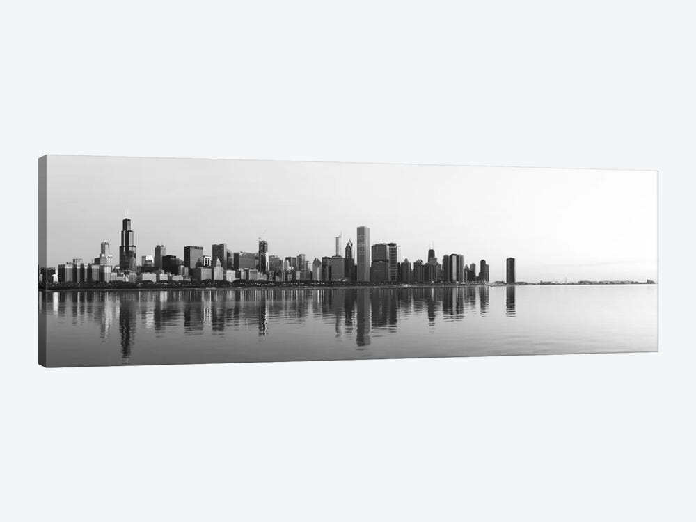 Chicago Panoramic Skyline Cityscape (Black & White - Sunrise) 1-piece Canvas Artwork