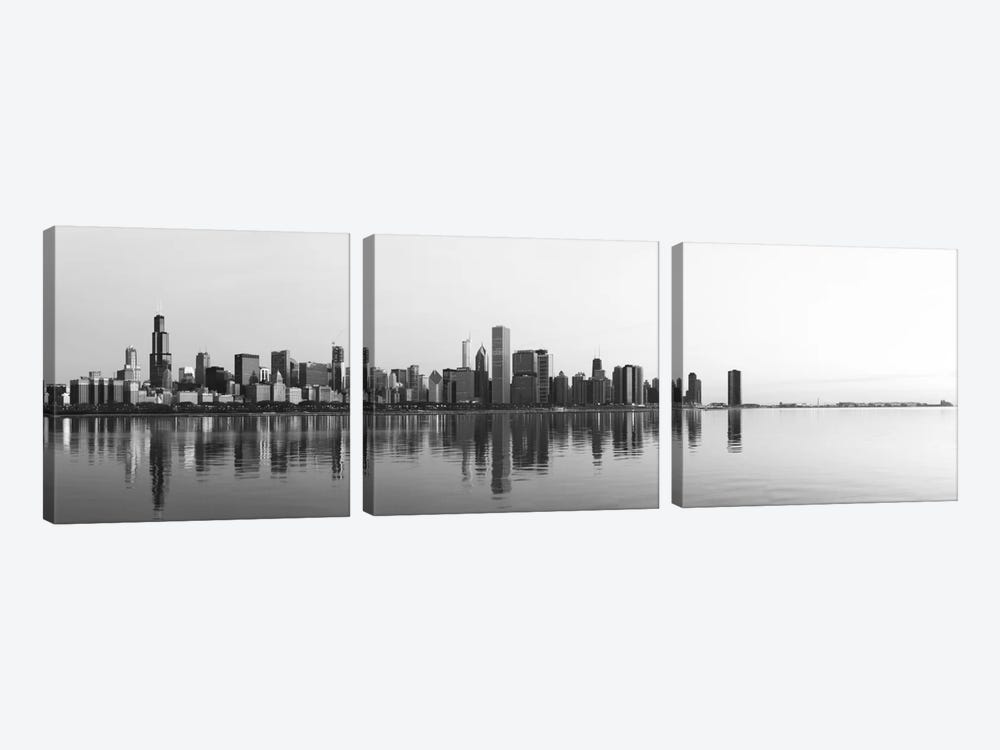Chicago Panoramic Skyline Cityscape (Black & White - Sunrise) 3-piece Canvas Artwork