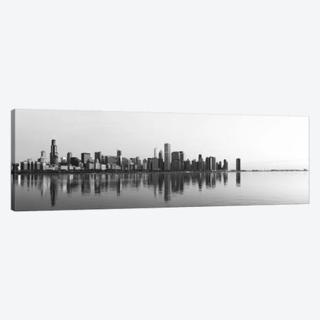 Chicago Panoramic Skyline Cityscape (Black & White - Sunrise) Canvas Print #6254} by Unknown Artist Canvas Art Print