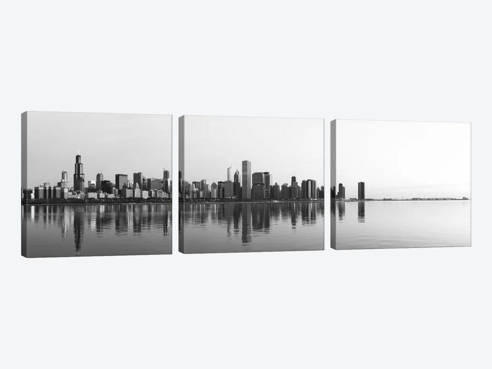 Chicago Panoramic Skyline Cityscape (Black & White - Sunrise) by Unknown Artist 3-piece Canvas Artwork
